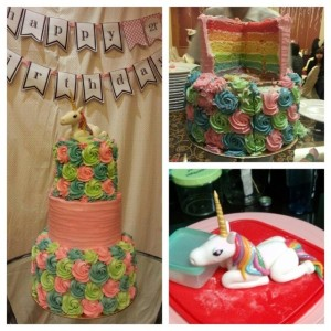 unicorn rainbow cake collage